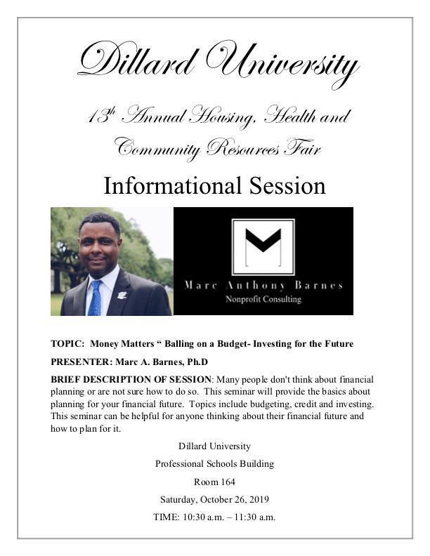 Many people don't think about financial planning or are not sure how to do so. This seminar will provide the basics about planning for your financial future. Topics include budgeting, credit and investing. This seminar can be helpful for anyone thinking about their financial future and how to plan for it.