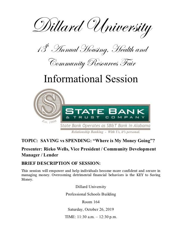This session will empower and help individuals become more confident and secure in managing money. Overcoming detrimental financial behaviors is the KEY to Saving Money.