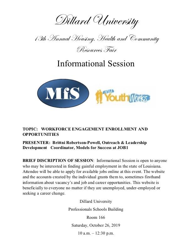 Informational Session is open to anyone who may be interested in finding gainful employment in the state of Louisiana. Attendee will be able to apply for available jobs online at this event. The website and the accounts created by the individual grants them to, sometimes firsthand information about vacancy's and job and career opportunities. This website is beneficially to everyone no matter if they are unemployed, under-employed or seeking a career change.