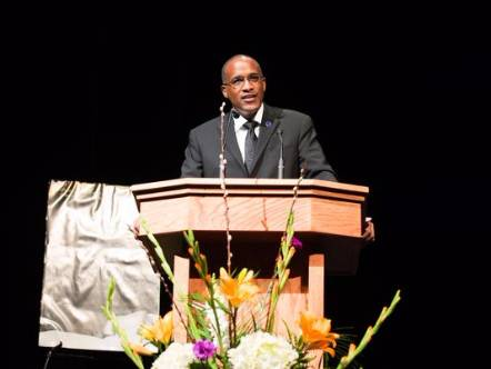 President Walter Kimbrough, speaking at Clemson's Martin Luther King Commemoration - See more at: http://www.dillard.edu/dillard-newsroom/world-news/kimbrough-weve-stopped-talking-to-each-other.php#sthash.9U1c0JQg.dpuf